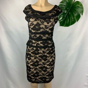 NWT Connected Apparel Black Floral Lace Mini Dress